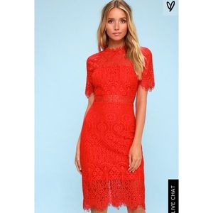Lulu's Red Lace Dress